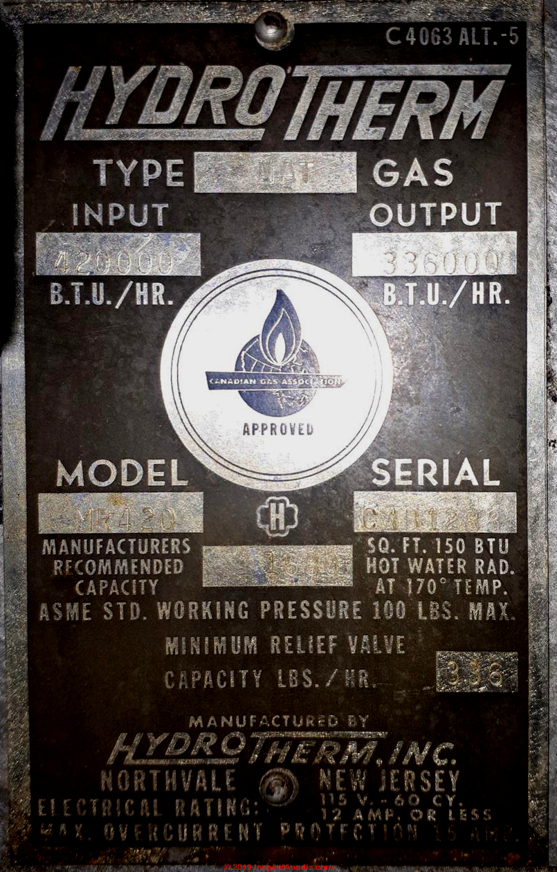 Hydrotherm Boilers Age, Manuals, Parts Lists, Wiring Diagrams, serial  number decoder | Hydrotherm Furnace Wiring Diagram |  | InspectApedia.com