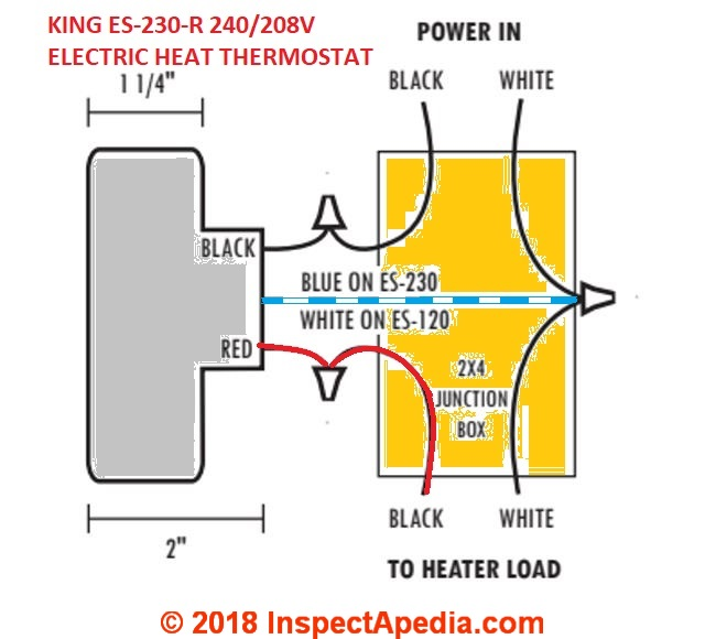 Line voltage thermostats for heating cooling king es 230 208240vac room thermostat for electric heat simple wiring diagram asfbconference2016 Images