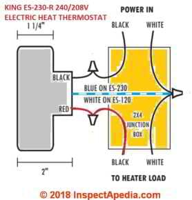 king es-230 208/240vac room thermostat for electric heat, simple wiring  diagram