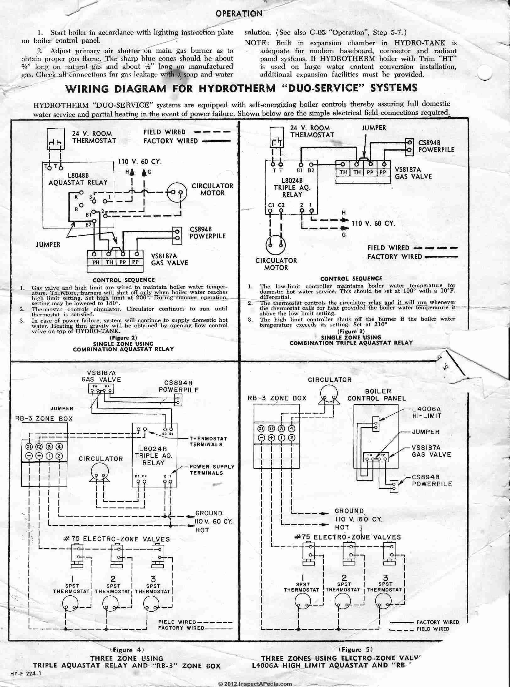 Honeywell L8024B aquastat wiring instructions  sc 1 st  InspectAPedia.com : burnham steam boiler wiring diagram - yogabreezes.com