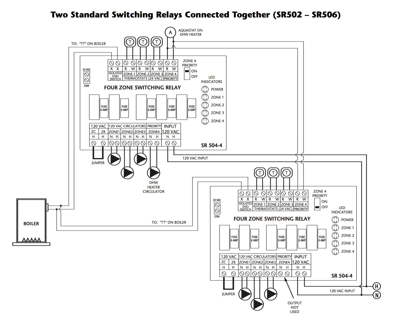 How to wire two Taco switching relays in series to control up to 8 heating  zones