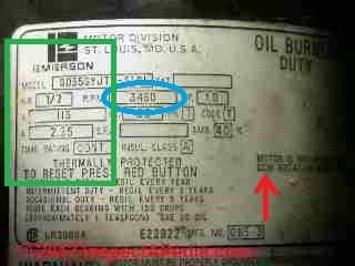 Electric motor data tag for oil burner (C) Daniel Friedman