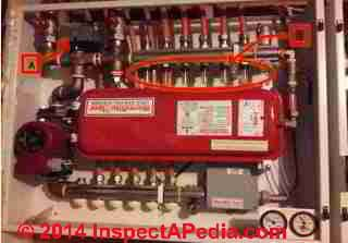 3 Zone Radiant Heat controlled by WarmRite Floor controllers (C) InspectApedia SC