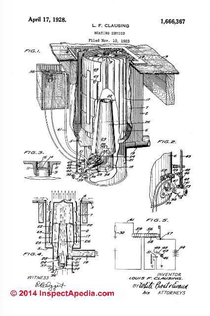 royal metal works gas heater 1928 patent (c) inspectapedia
