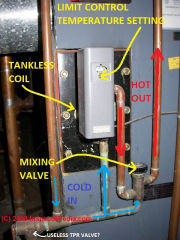 Limit switch on a steam boiler tankless coil