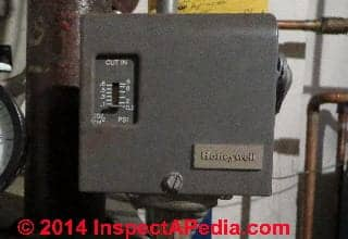Steam boiler pressure control switch