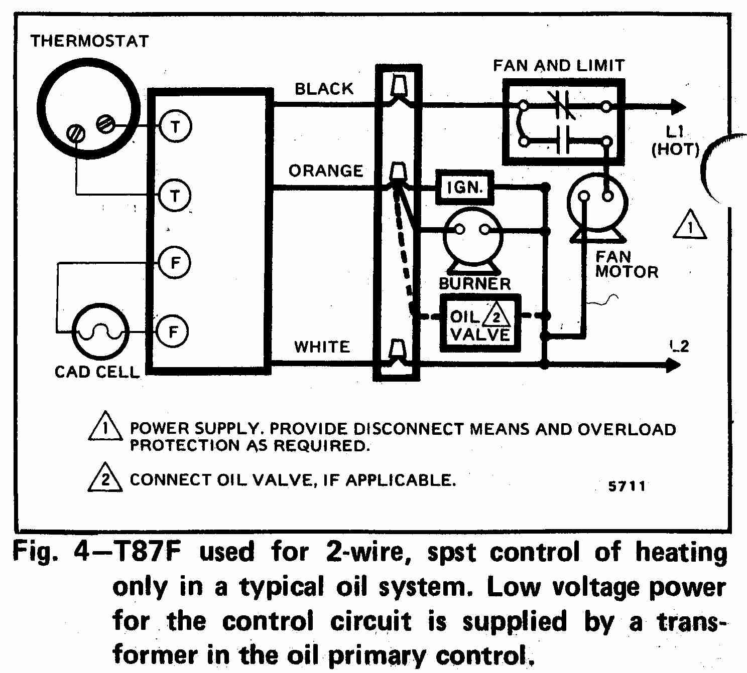Honeywell T87F Thermostat wiring diagram for 2-wire spst control of heating only in