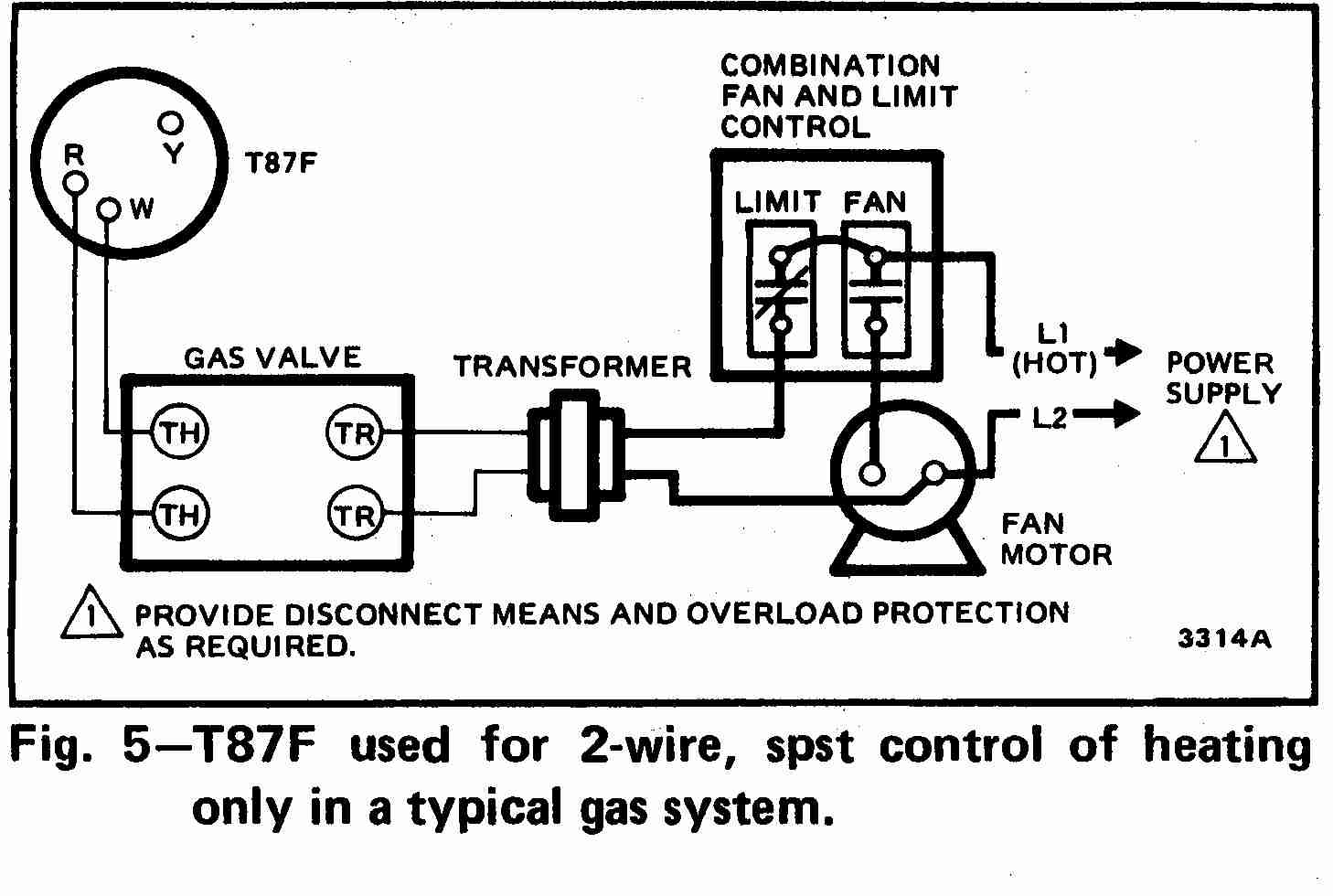 Honeywell T87F Thermostat wiring diagram for 2-wire, spst control of heating only in