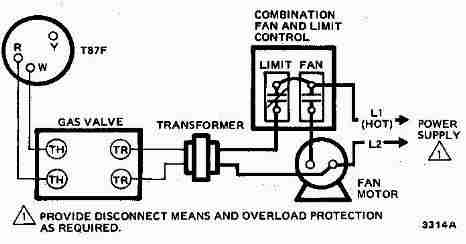 Room thermostat wiring diagrams for hvac systems honeywell t87f thermostat wiring diagram for 2 wire spst control of heating only in swarovskicordoba Image collections