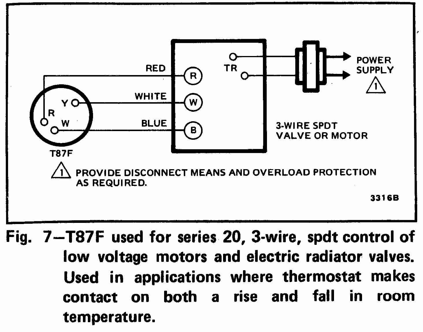 3-Wire SPDT Honeywell T87F Thermostat wiring diagram