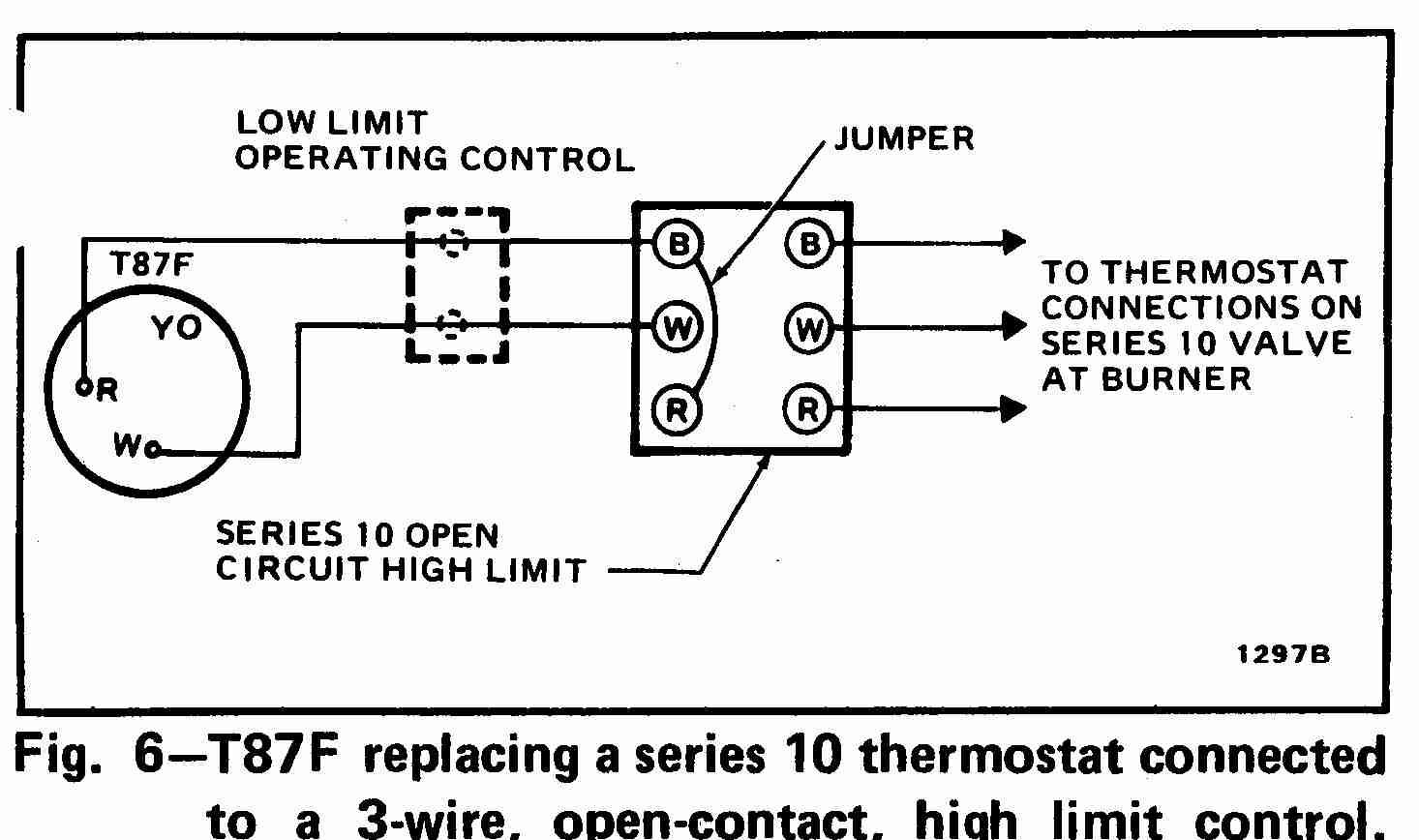 3-Wire High Limit Honeywell T87F Thermostat wiring diagram