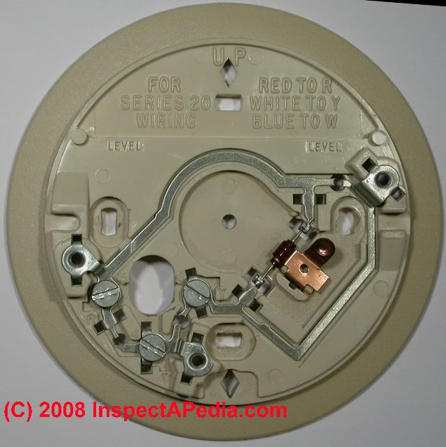 Honeywell thermostat backing plate showing wiring connections & Guide to wiring connections for room thermostats