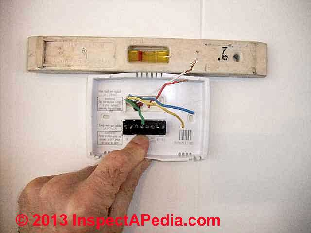 guide to wiring connections for room thermostats rh inspectapedia com 4 Wire Thermostat Wiring installing a thermostat wiring
