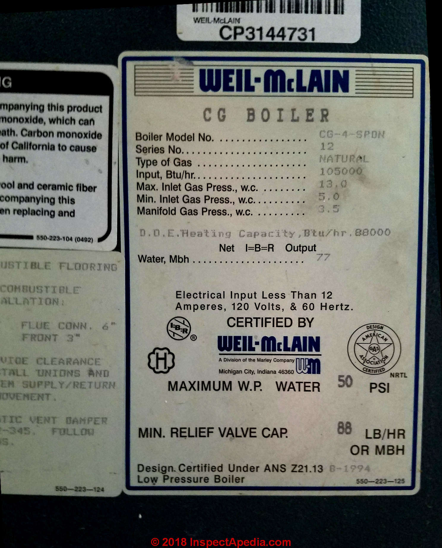 Data tag from a Weil McLain gas boiler in Two Harbors MN (C) Daniel