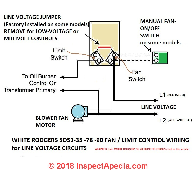 how to install wire the fan limit controls on furnaces honeywell rh inspectapedia com Goodman Furnace Limit Switch Honeywell Furnace Limit Switch