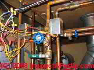 Copper piping at basement boiler zone valve (C) Daniel Friedman