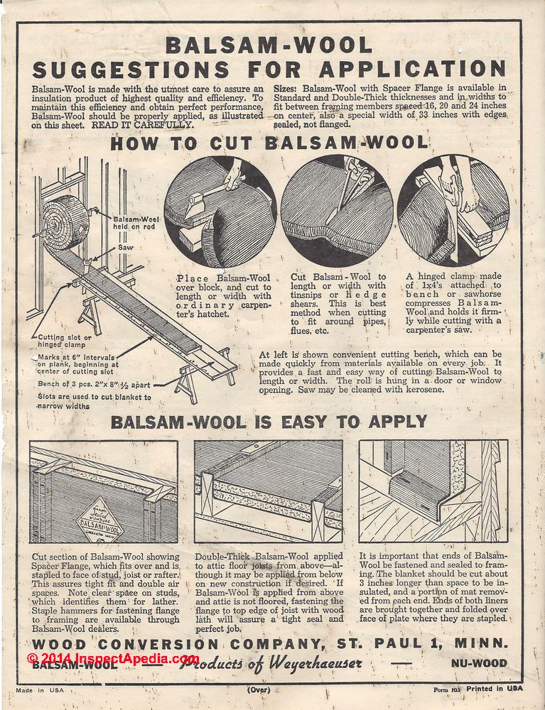 How to identify balsam wool building insulation silvawool for Cellulose insulation r value per inch chart