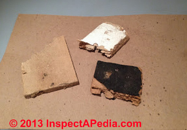 Fiberboard insulation fragments used under bowling alley lanes c inspectapedia