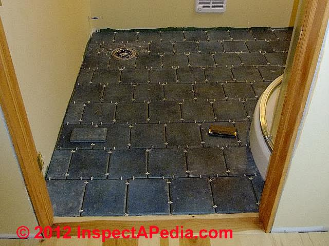 Ceramic tile installed, setting before grouting (C) D Friedman Eric Galow