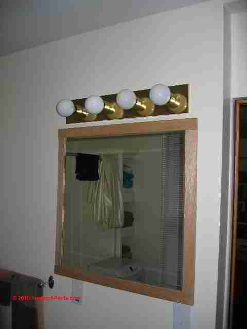 Downlights Over Vanity : Auto forward to correct web page at InspectAPedia.com