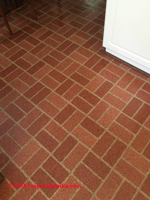 ... Red brick pattern flooring without asbestos (C) InspectApedia PC