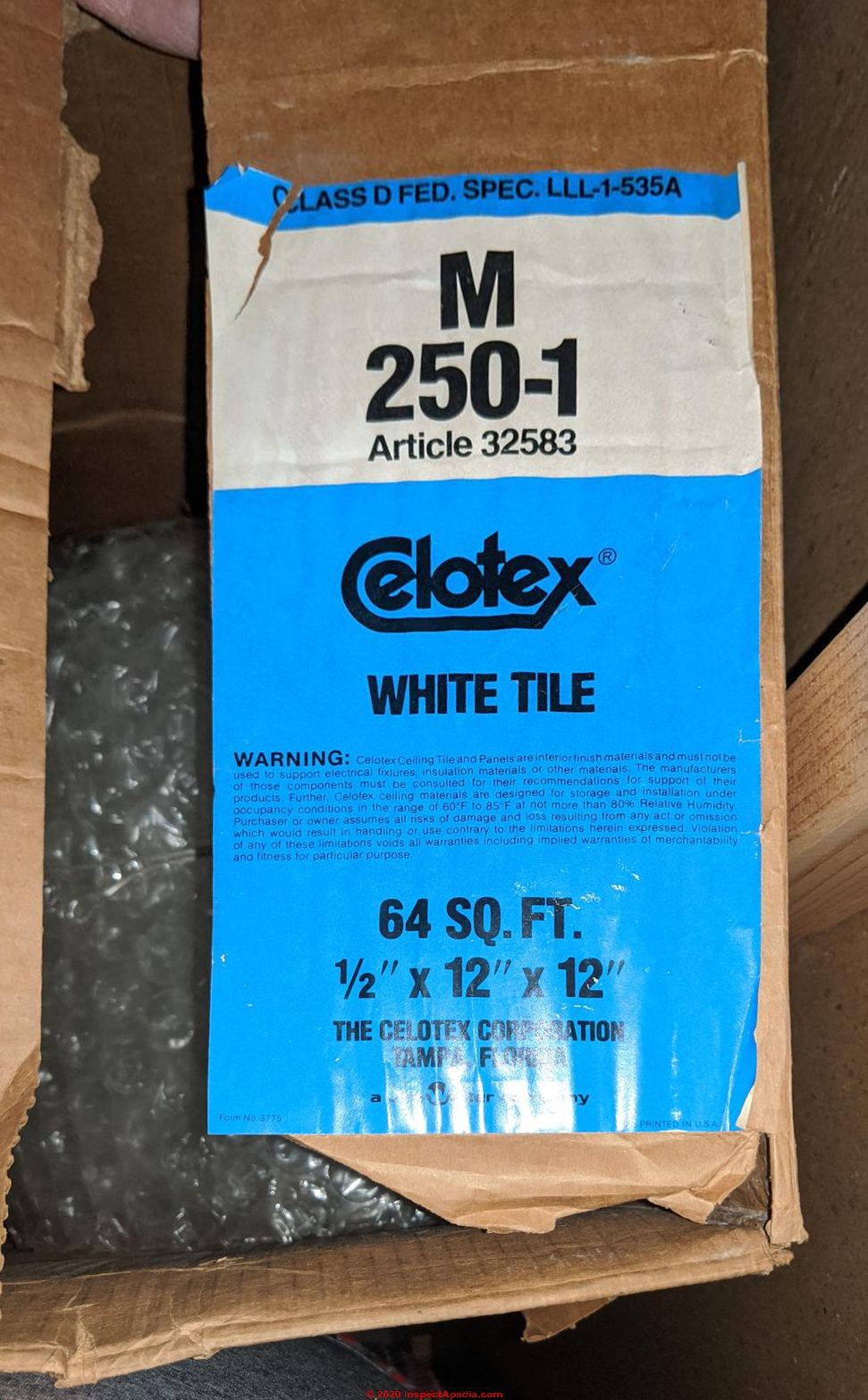 Celotex Insulating Products Believed To Contain Asbestos Or To Be Asbestos Free