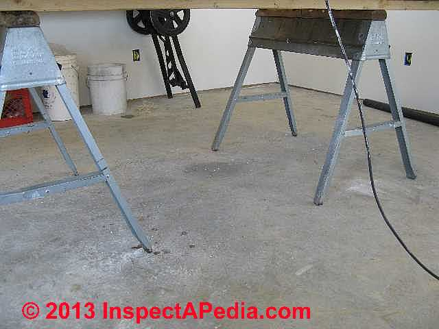 Color Finish Trial On Poured Concrete Floor (C) InspectApedia Ralph Arlyck