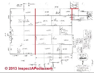 Drywall layout for ceiling showing drywall movement control joint locations (C) InspectAPedia JW
