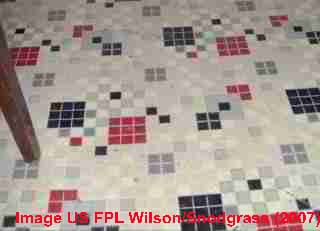 Linoleum, traditional sheet flooring  pattern, Wilson & Snodgrass, US FPL (2007)