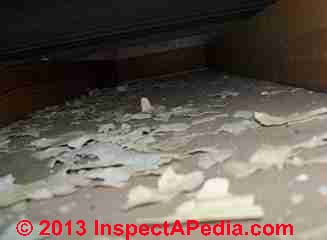 Lead paint chips in a drop ceiling below a metal ceiling (C) InspectApedia.com JN