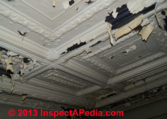 Reply: comments on water damaged pressed-tin ceiling: lead paint, asbestos,  electrical wiring hazards