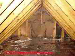 Radiant barrier in attic floor (C) InspectApedia