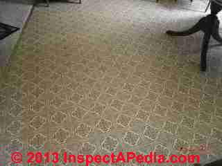 Resilient sheet flooring dated 1986 (C) InspectApedia