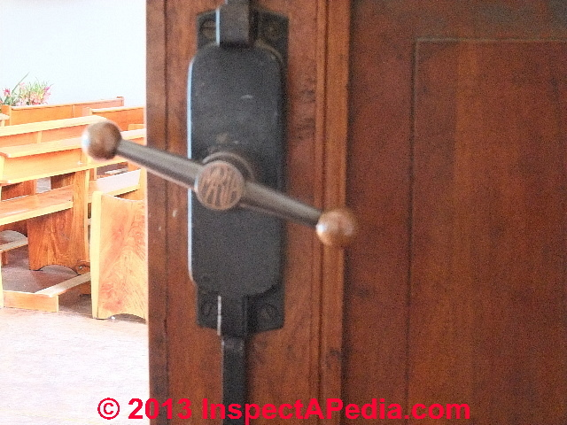 Antique door latch assembly, Tlaxcala Mexico, hacienda dating to era of  Cortes © Daniel Door lock ... - Door Age: Door Locks, Knobs, Hinges Hardware As Indicators Of