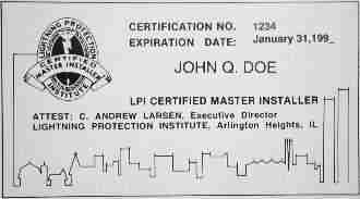 LPI certification card