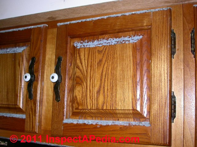 Photo of mold on kitchen cabinet doors (C) Daniel Friedman ...