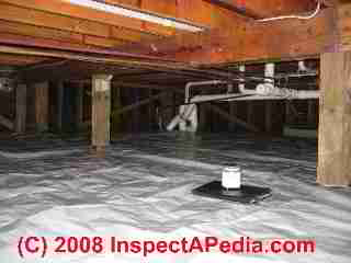 Crawl space moisture barrier choices placement where for Crawl space plumbing