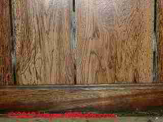 Photo of mold on wood paneling grooves (C) Daniel Friedman
