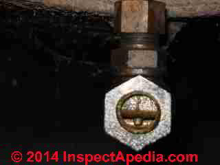 Oil tank valve orifice in closed position (C) InspectAPedia