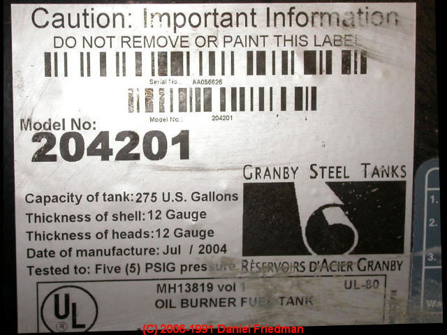 Photograph Of A Modern Oil Storage Tank Listing Label.