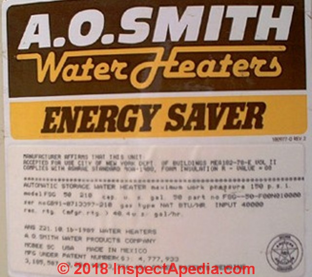 Ao smith water heater age or manuals ao smith ao smith water heater data tag c daniel friedman inspectapedia fandeluxe Images