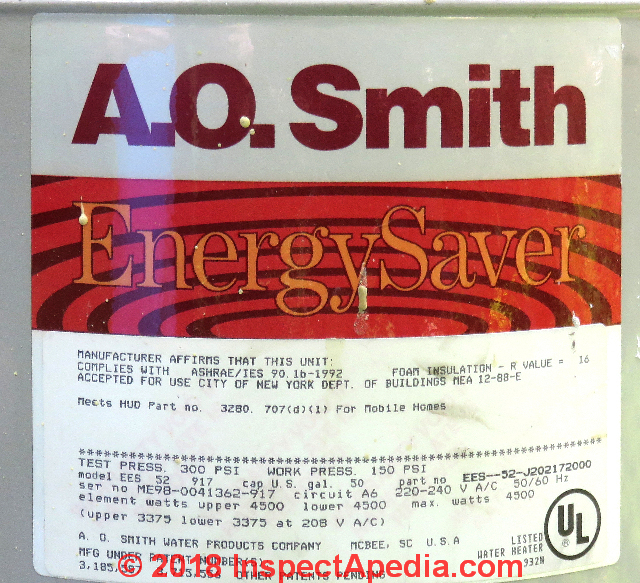 A.O. Smith Water Heater Age or Manuals AO Smith on