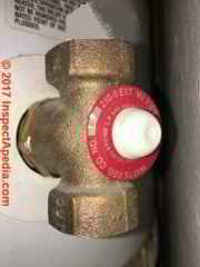 Watts 210-5 automatic gas shutoff valve on a gas fired water heater (c) InspectApedia.com DelCerro