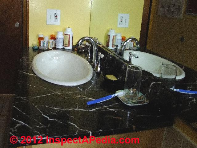 Bath Sink, Cultured Marble Countertop © D Friedman At InspectApedia.com