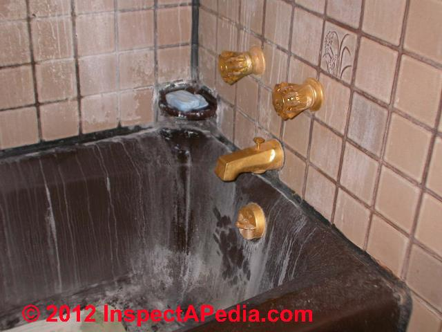 ... Bathtub Stains Hard Water © D Friedman At InspectApedia.com