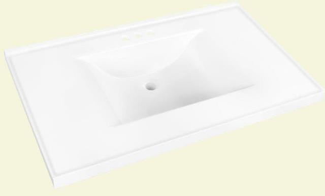 Glacier Bay Cultured Marble Sink / Vanity Top At Home Depot Stores   At  InspectApedia.