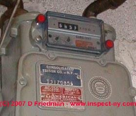 Photograph of a gas meter cubic feet readout