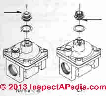 Example of converting a gas range oven regulator between LP gas and natural gas (C) InspectApedia