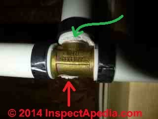 Brass PEX pipoing fitting corrosion (C) 2014 InspectApedia.com & Anon