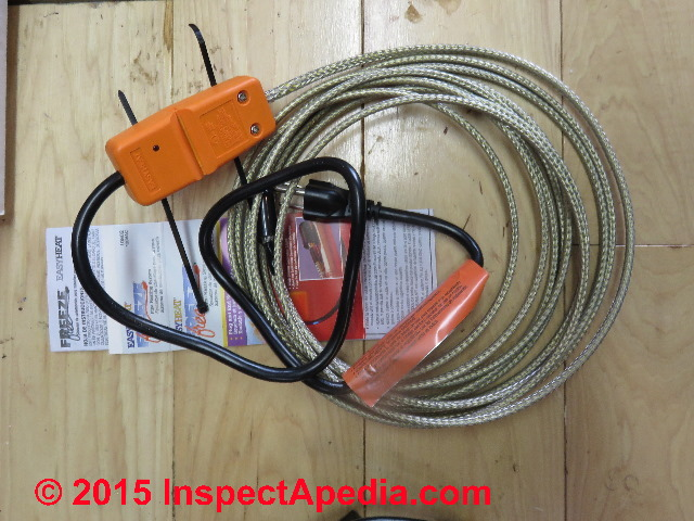 how where to add heat to protect against pipe freezing heat tapes rh inspectapedia com central heating wiring cable Cable Wiring Diagram